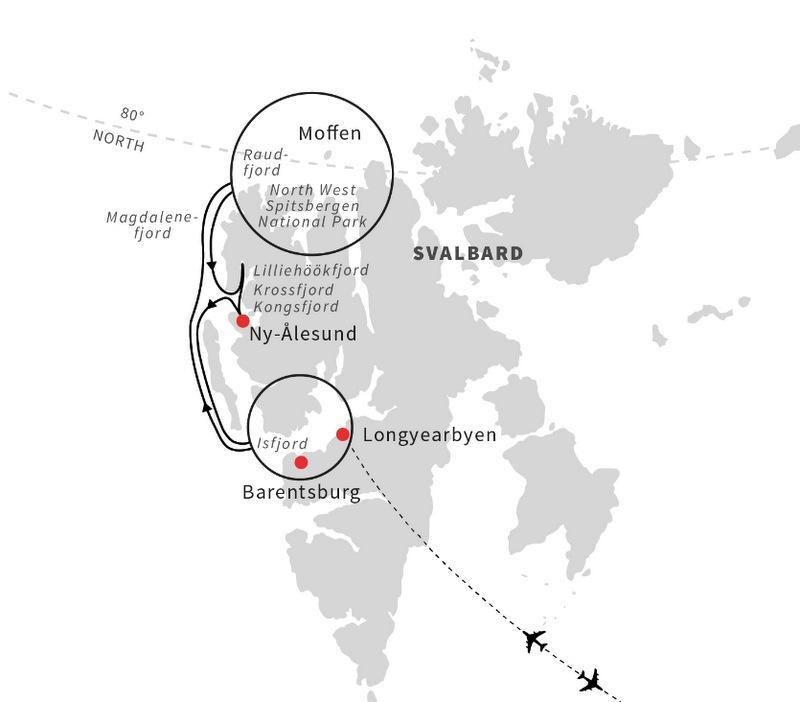 Mapa rejsu - SPITSBERGEN: wyspa na dachu świata – rejs arktyczny