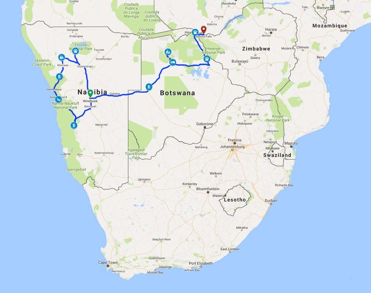 WWVLMAP2019 - NAMIBIA – BOTSWANA – ZIMBABWE – wyprawa do wodospadów Wiktorii