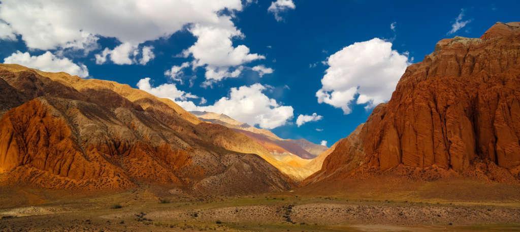 Landscape of colored mountain near Kokemeren river, Kyzyl-Oi Kyrgyzstan