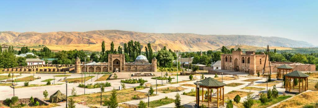 View of Madrasas Kuhna and Nav from Hisor Fortress, Tajikistan