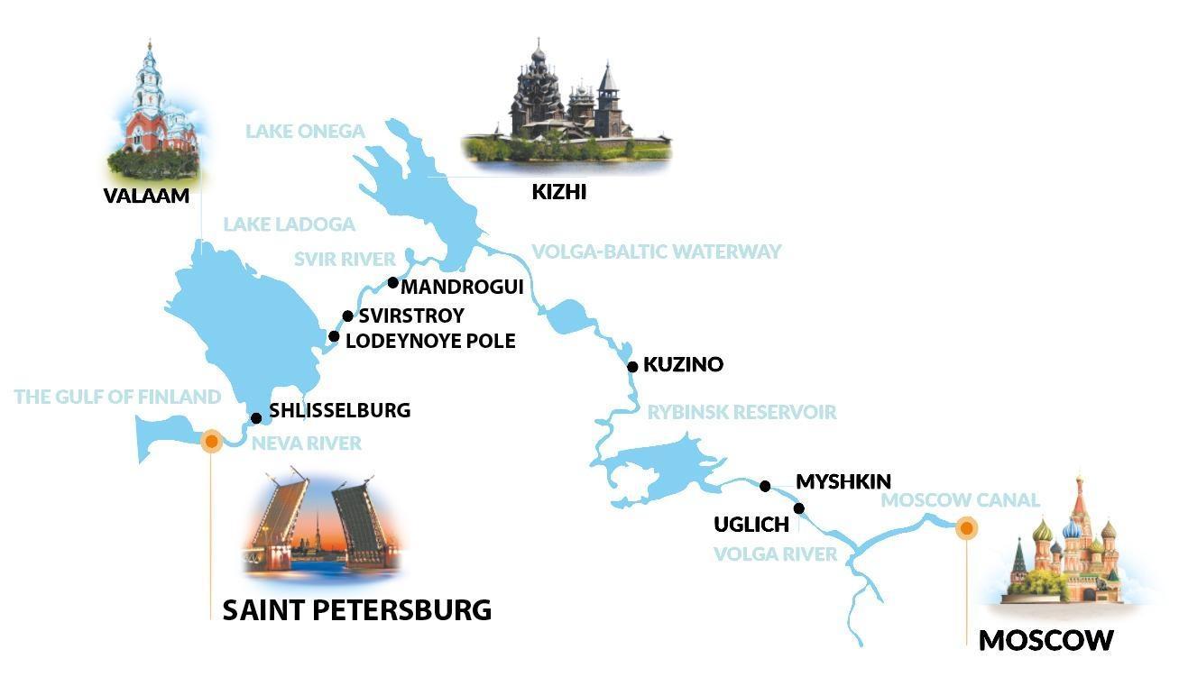 tc map white - ROSJA: od Moskwy do Sankt Petersburga - rejs