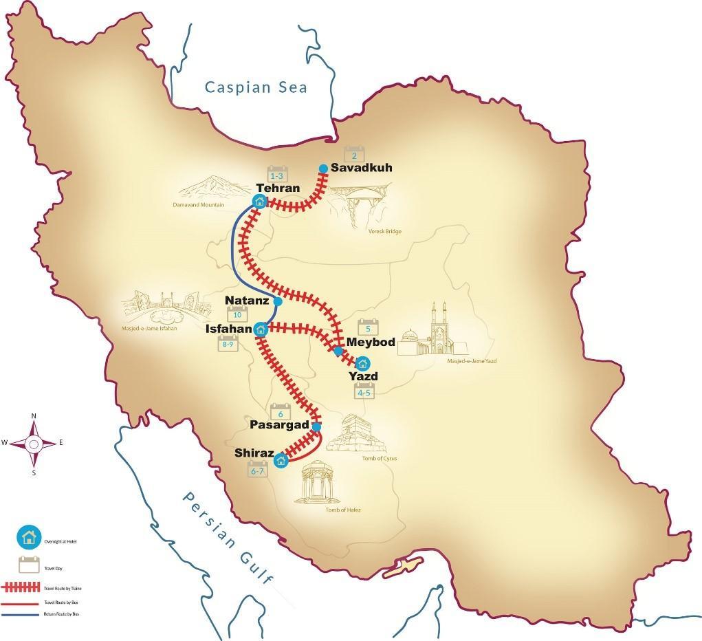 map - IRAN : Persja luksusowym pociągiem