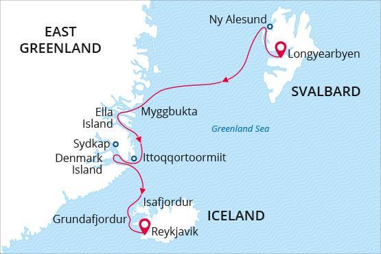 Map SeaSpirit SpitsbergenGreenlandIceland - Spitsbergen, Grenlandia i Islandia – rejs arktyczny